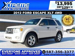 2012 Ford Escape XLT 4WD $129 BI-WEEKLY APPLY NOW DRIVE NOW