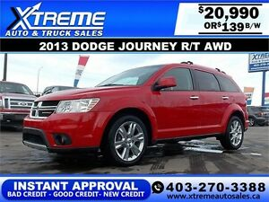2013 Dodge Journey R/T AWD $139 bi-weekly APPLY NOW DRIVE NOW
