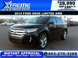 2014 FORD EDGE LIMITED AWD $189 B/W $0 DOWN APPLY NOW DRIVE NOW