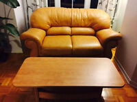 Nice brown leather sofa and a high-quality solid wood tea table