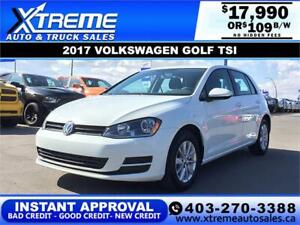 2017 VOLKSWAGEN GOLF TSI $109 B/W *$0 DOWN* APPLY NOW