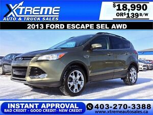 2013 Ford Escape SEL AWD $139 bi-weekly APPLY NOW DRIVE NOW
