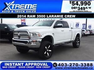2014 Ram 3500 Laramie Crew *INSTANT APPROVAL* $0 DOWN $349/BW!