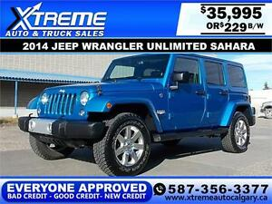2014 Jeep Wrangler Unlimited $229 bi-weekly APPLY NOW DRIVE NOW