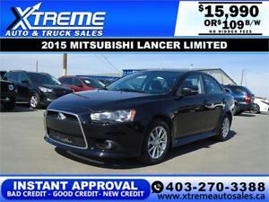 2015 MITSUBISHI LANCER LIMITED $109 B/W! APPLY NOW DRIVE NOW