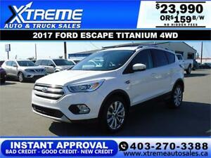 2017 FORD ESCAPE TITANIUM 4WD  *INSTANT APPROVAL* $159/BW