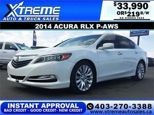 2014 Acura RLX P-AWS $219 bi-weekly APPLY NOW DRIVE NOW