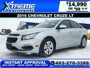 2016 Chevrolet Cruze LT $99 bi-weekly APPLY NOW DRIVE NOW
