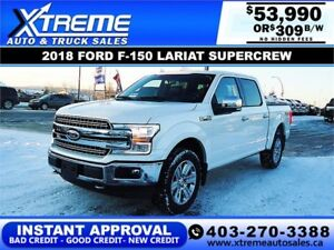 2018 FORD F-150 LARIAT SUPERCREW *INSTANT APPROVAL* $309/BW