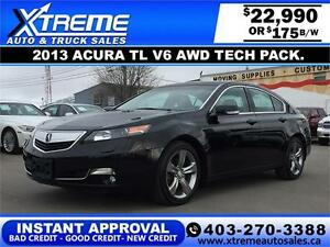 2013 Acura TL V6 AWD Tech pkg.$175 bi-weekly APPLY NOW DRIVE NOW