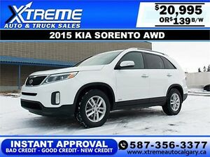 2015 Kia Sorento LX AWD $139 bi-weekly APPLY NOW DRIVE NOW
