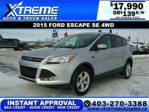 2015 FORD ESCAPE SE 4WD  *INSTANT APPROVAL* $139 B/W!