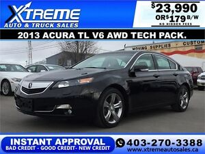 2013 Acura TL V6 AWD Tech pkg.$179 bi-weekly APPLY NOW DRIVE NOW