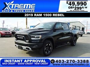 2019 RAM 1500 REBEL CREW CAB *INSTANT APPROVAL* $0 DOWN $299/BW