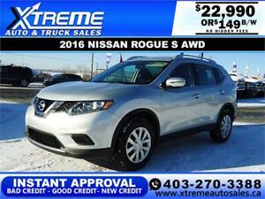 2016 NISSAN ROGUE S AWD $149 B/W *$0 DOWN* APPLY NOW