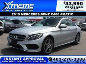2015 MERCEDES-BENZ C400 4MATIC $219 B/W *$0 DOWN* APPLY NOW