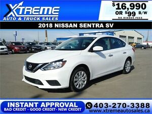 2018 NISSAN SENTRA SV  *INSTANT APPROVAL* $0 DOWN $99/BW!
