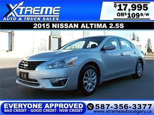 2015 Nissan Altima 2.5S SV $109 bi-weekly APPLY NOW DRIVE NOW