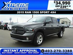 2015 RAM 1500 SPORT CREW CAB *INSTANT APPROVAL* $239/BW!
