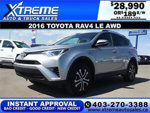 2016 Toyota RAV4 LE AWD $189 bi-weekly APPLY NOW DRIVE NOW