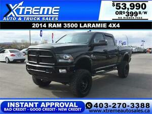 2014 RAM 3500 LARAMIE LIFTED *INSTANT APPROVAL $0 DOWN $399/BW