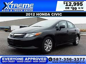 2012 Honda Civic $99 bi-weekly APPLY NOW  DRIVE NOW