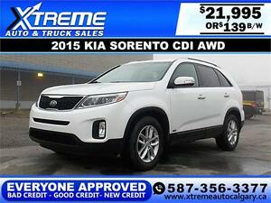 2015 Kia Sorento CDI AWD $139 BI-WEEKLY APPLY NOW DRIVE NOW