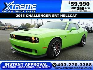 2015 CHALLENGER SRT HELLCAT $399 B/W *$0 DOWN*APPLY NOW
