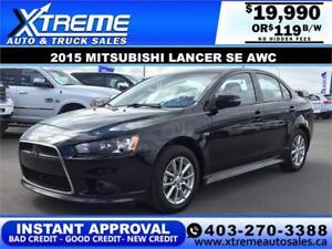 2015 Mitsubishi Lancer SE AWC *INSTANT APPROVAL $0 DOWN $119 BW