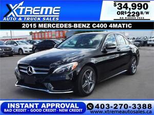 2015 MERCEDES-BENZ C400 4MATIC $229 B/W APPLY NOW DRIVE NOW