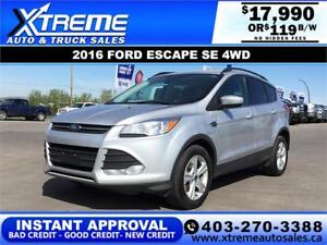 2016 FORD ESCAPE SE 4WD $119 B/W *INSTANT APPROVAL* APPLY NOW