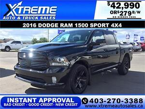 2016 Dodge Ram 1500 Sport *INSTANT APPROVAL* $0 DOWN $279/BW!