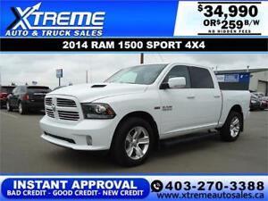 2014 RAM 1500 SPORT CREW CAB *INSTANT APPROVAL* $0 DOWN $259 /BW