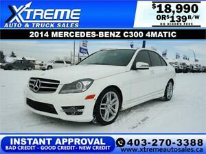 2014 MERCEDES-BENZ C300 4MATIC $139 B/W! APPLY NOW DRIVE NOW