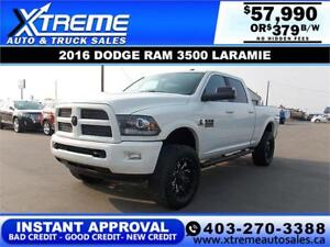 2016 RAM 3500 LARAMIE LIFTED *INSTANT APPROVAL $0 DOWN $379/BW!