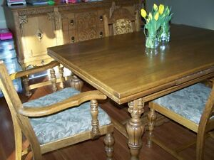Antique Dining room table, buffet and hutch