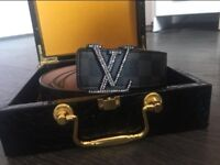 LOUIS VUITTON BELT - BLACK GREY