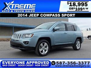 2014 Jeep Compass Sport 4X4 $109 bi-weekly APPLY NOW DRIVE NOW