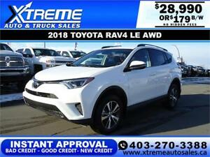 2018 TOYOTA RAV4 LE AWD *INSTANT APPROVAL* $179 B/W!