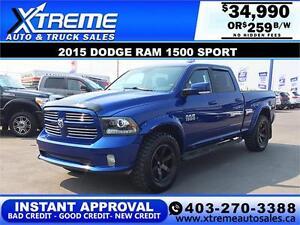2015 DODGE RAM SPORT CREW *INSTANT APPROVAL $0 DOWN $259/BW
