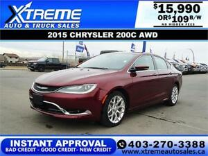 2015 CHRYSLER 200C AWD $109 Bi-Weekly APPLY NOW DRIVE NOW