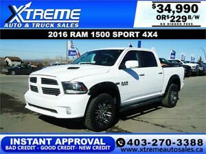2016 RAM 1500 SPORT CREW CAB * $0 DOWN $229/BW! APPLY NOW