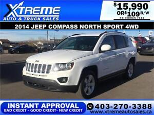 2014 JEEP COMPASS NORTH SPORT $109 Bi-weekly APPLY NOW DRIVE NOW
