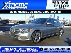 2015 MERCEDES-BENZ C300 4MATIC $199 B/W * APPLY NOW DRIVE NOW