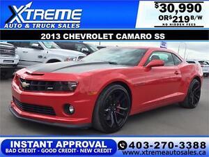 2013 Chevrolet Camaro SS $0 Down $219 b/w APPLY NOW DRIVE NOW