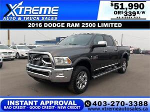 2016 RAM 2500 LIMITED CREW *INSTANT APPROVED* $339/BI-WEEKLY