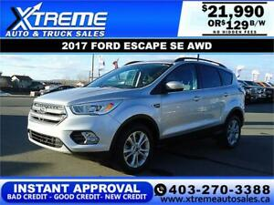 2017 FORD ESCAPE SE 4WD *INSTANT APPROVAL $0 DOWN $129/BW