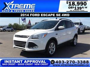 2014 FORD ESCAPE SE 4WD $119 B/W *$0 DOWN* APPLY NOW DRIVE NOW