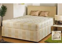 SAME DAY EXPRESS DELIVERY DOUBLE DIVAN BED WITH SEMI ORTHOPAEDIC MATTRESS