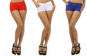 HOT-USA-SCRUNCH-COLOURED-DENIM-SHORTS-RED-WHITE-BLUE-SIZES-S-M-L-NEW